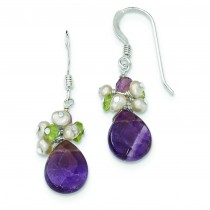 Amethyst Peridot Peach Cultured Pearl Earrings in Sterling Silver