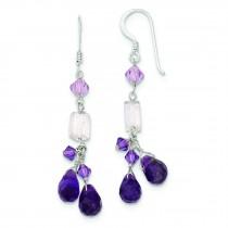 Amethyst Lavender Quartz Crystal Combination Earrings in Sterling Silver