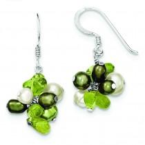 Green Freshwater Cultured Pearl Peridot Earrings in Sterling Silver