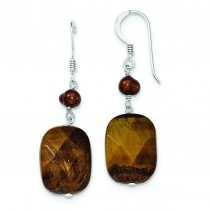 Tiger Eye Golden Freshwater Cultured Pearl Earrings in Sterling Silver