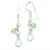 Blue Crystal White Cultured Pearl Aventurine Earrings in Sterling Silver