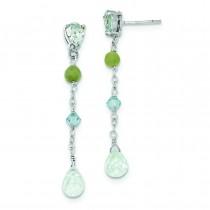 Blue Topaz Amazonite Blue Crystal Earrings in Sterling Silver