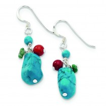Dyed Howlite Turquoise Red Coral Earrings in Sterling Silver