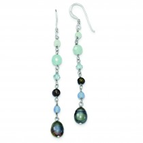 Blue Agate Fresh Water Cultured Pearl Aqua Crystal Earrings in Sterling Silver