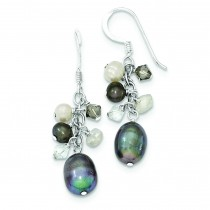 Blue Crystal Peacock White Fresh Water Cultured Pearl Earrings in Sterling Silver