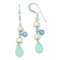 Blue Topaz Agate Blue Freshwater Cultured Pearl Earrings in Sterling Silver