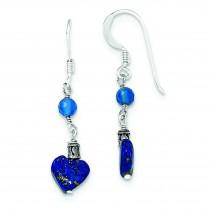 Lapis Blue Agate Antiqued Earrings in Sterling Silver