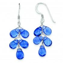 Blue Quartz Crystal Earrings in Sterling Silver