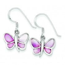 Pink Shell Butterfly Earrings in Sterling Silver
