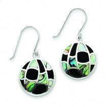 Onyx Abalone Earrings in Sterling Silver