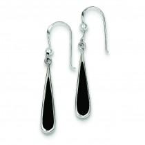 Black Stone Earrings in Sterling Silver