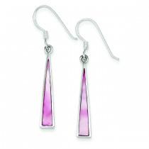 Pink Shell Dangle Earrings in Sterling Silver