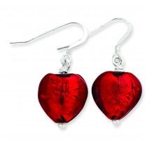 Red Murano Glass Heart Earrings in Sterling Silver