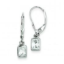 CZ Leverback Earrings in Sterling Silver