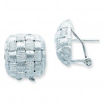 Square Fancy Omega Back Earrings in Sterling Silver