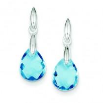 Blue CZ Earrings in Sterling Silver