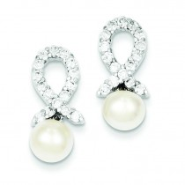 CZ And Freshwater Cultured Pearl Earrings in Sterling Silver