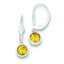 Citrine Leverback Earrings in Sterling Silver
