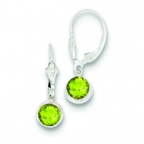 Peridot Leverback Earrings in Sterling Silver