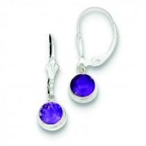 Amethyst Leverback Earrings in Sterling Silver