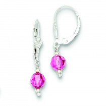 Rose Crystal Leverback Earrings in Sterling Silver