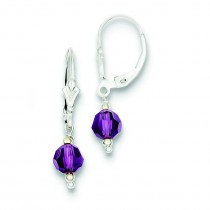 Purple Crystal Leverback Earrings in Sterling Silver