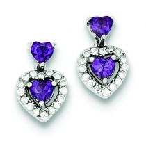 Purple Clear CZ Heart Shape Earrings in Sterling Silver