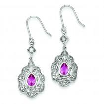 Pink Clear CZ Earrings in Sterling Silver