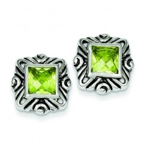 Green CZ Square Earrings in Sterling Silver