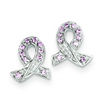 Pink CZ Ribbon Earrings in Sterling Silver