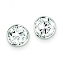 CZ Round Bezel Stud Earrings in Sterling Silver
