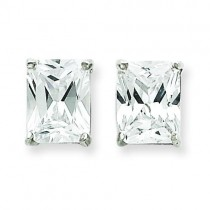 Emerald CZ Stud Earrings in Sterling Silver