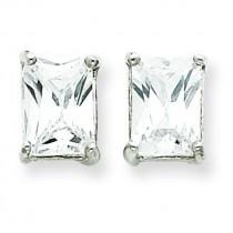 Emerald CZ Stud Earrings in Sterling Silver