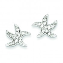 CZ Starfish Earrings in Sterling Silver