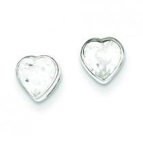 CZ Heart Bezel Stud Earrings in Sterling Silver