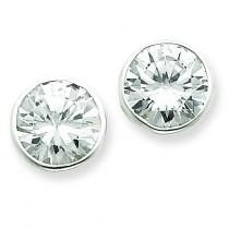 CZ Round Bezel Stud Earrings in Sterling Silver