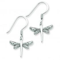 CZ Dragonfly Earrings in Sterling Silver