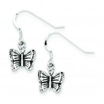 Antiqued Butterfly Earrings in Sterling Silver