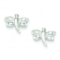 CZ Dragonfly Post Earrings in Sterling Silver