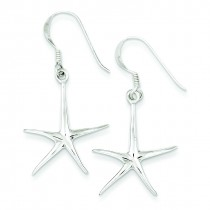 Star Fish Dangle Earrings in Sterling Silver