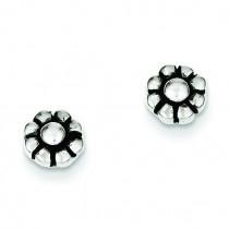 Antique Flower Stud Earrings in Sterling Silver