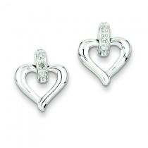 Heart W Diamond Earrings in Sterling Silver (0.01 Ct. tw.) (0.01 Ct. tw.)