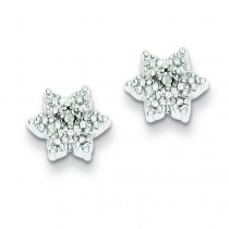 Star W Diamond Earrings in Sterling Silver (0.01 Ct. tw.) (0.01 Ct. tw.)