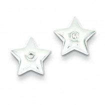 Diamond Star Earrings in Sterling Silver (0.01 Ct. tw.) (0.01 Ct. tw.)