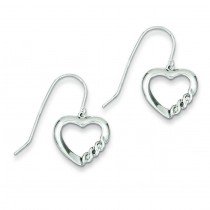 Heart Diamond Earrings in Sterling Silver (0.01 Ct. tw.) (0.01 Ct. tw.)
