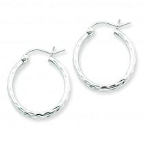 Diamond Cut Hoop Earrings in Sterling Silver