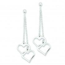 Bead Chain Heart Drop Earrings in Sterling Silver