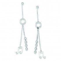 Music Note With Bead Dangle Earrings in Sterling Silver