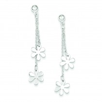 Flower Dangle Post Earrings in Sterling Silver