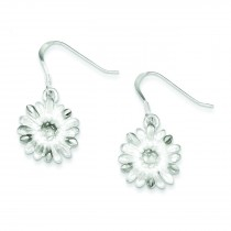 Diamond Cut Sunflower Wire Earrings in Sterling Silver